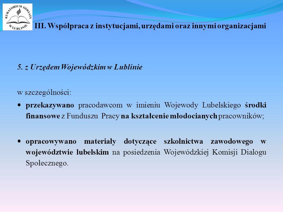III. Współpraca z instytucjami, urzędami oraz innymi organizacjami 5.