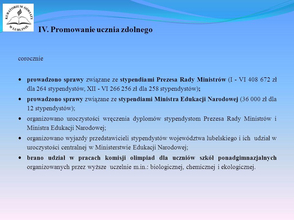 IV. Promowanie ucznia zdolnego corocznie prowadzono sprawy związane ze stypendiami Prezesa Rady Ministrów (I - VI 408 672 zł dla 264 stypendystów, XII