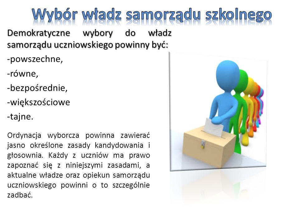 Demokratyczne wybory do władz samorządu uczniowskiego powinny być: -powszechne, -równe, -bezpośrednie, -większościowe -tajne.