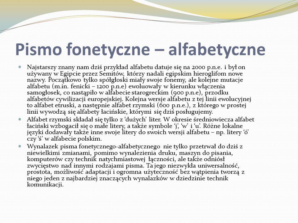 Pismo fonetyczne – alfabetyczne Najstarszy znany nam dziś przykład alfabetu datuje się na 2000 p.n.e.