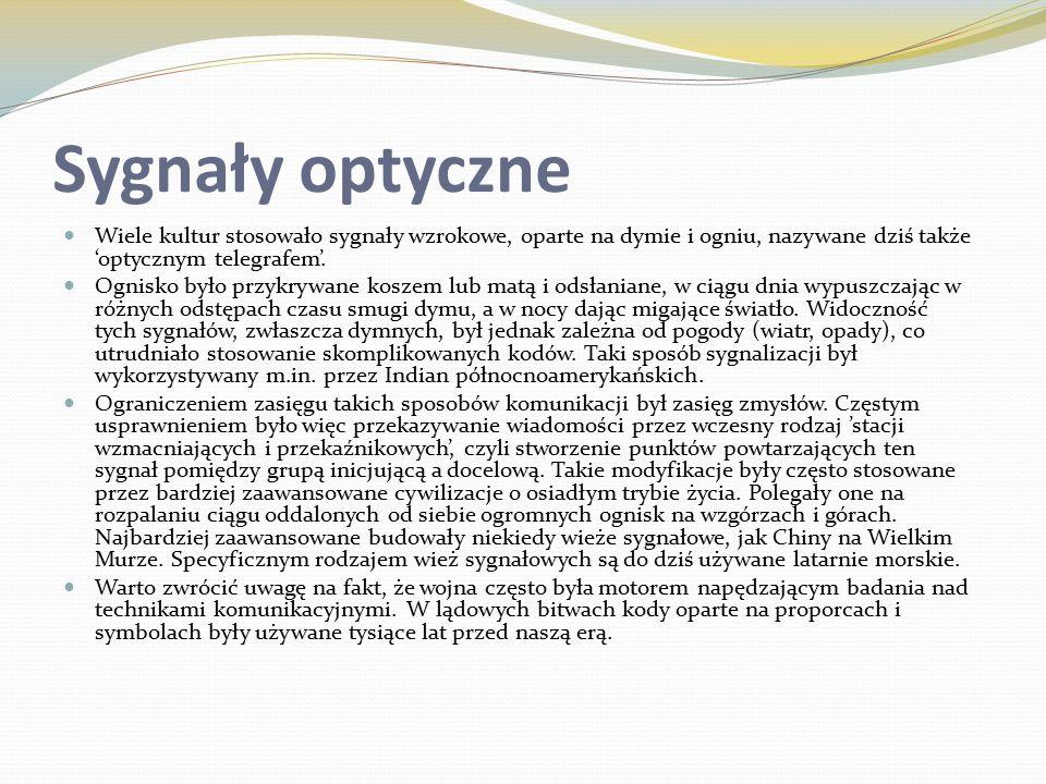 Sygnały optyczne Wiele kultur stosowało sygnały wzrokowe, oparte na dymie i ogniu, nazywane dziś także 'optycznym telegrafem'.