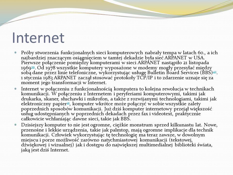 Internet Próby stworzenia funkcjonalnych sieci komputerowych nabrały tempa w latach 60., a ich najbardziej znaczącym osiągnięciem w tamtej dekadzie była sieć ARPANET w USA.