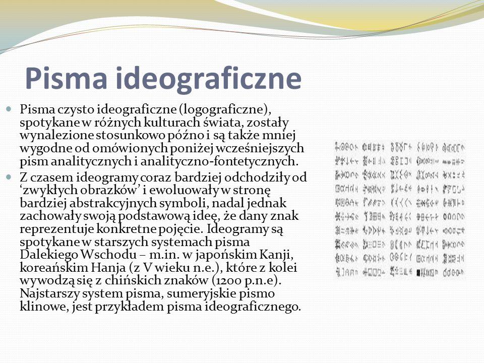 Pisma ideograficzne Pisma czysto ideograficzne (logograficzne), spotykane w różnych kulturach świata, zostały wynalezione stosunkowo późno i są także mniej wygodne od omówionych poniżej wcześniejszych pism analitycznych i analityczno-fontetycznych.