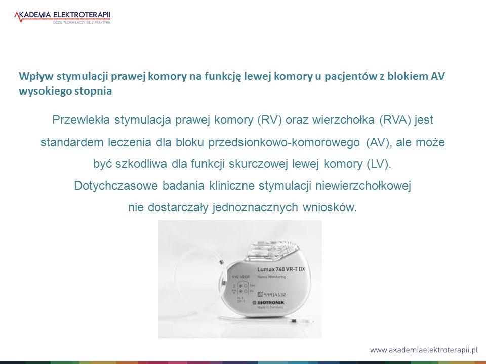 Przewlekła stymulacja prawej komory (RV) oraz wierzchołka (RVA) jest standardem leczenia dla bloku przedsionkowo-komorowego (AV), ale może być szkodliwa dla funkcji skurczowej lewej komory (LV).