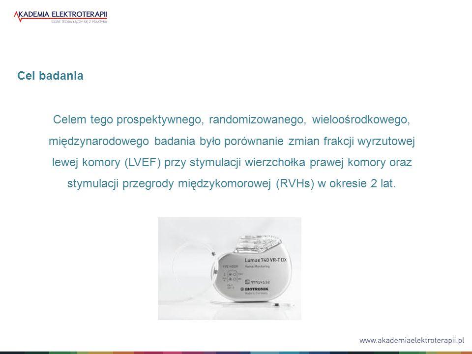Celem tego prospektywnego, randomizowanego, wieloośrodkowego, międzynarodowego badania było porównanie zmian frakcji wyrzutowej lewej komory (LVEF) przy stymulacji wierzchołka prawej komory oraz stymulacji przegrody międzykomorowej (RVHs) w okresie 2 lat.