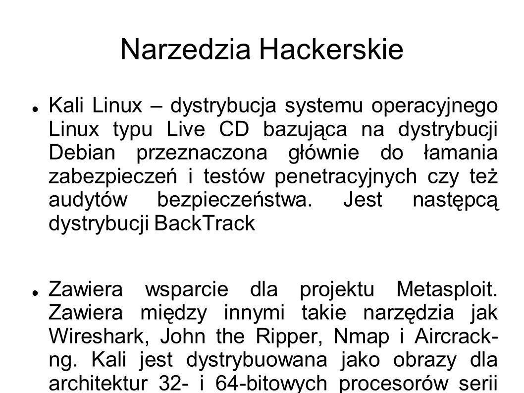 Narzedzia Hackerskie Kali Linux – dystrybucja systemu operacyjnego Linux typu Live CD bazująca na dystrybucji Debian przeznaczona głównie do łamania zabezpieczeń i testów penetracyjnych czy też audytów bezpieczeństwa.