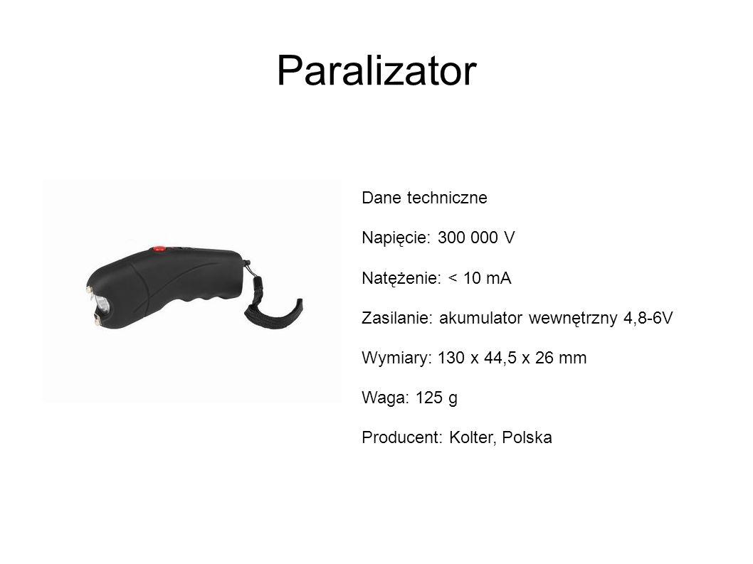 Paralizator Dane techniczne Napięcie: 300 000 V Natężenie: < 10 mA Zasilanie: akumulator wewnętrzny 4,8-6V Wymiary: 130 x 44,5 x 26 mm Waga: 125 g Producent: Kolter, Polska