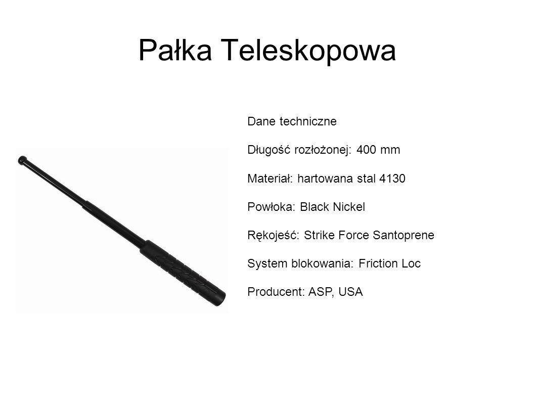 Pałka Teleskopowa Dane techniczne Długość rozłożonej: 400 mm Materiał: hartowana stal 4130 Powłoka: Black Nickel Rękojeść: Strike Force Santoprene System blokowania: Friction Loc Producent: ASP, USA