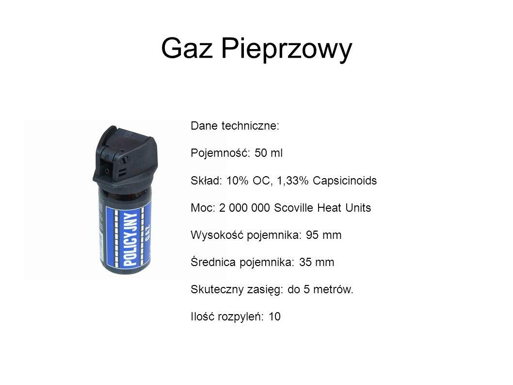 Gaz Pieprzowy Dane techniczne: Pojemność: 50 ml Skład: 10% OC, 1,33% Capsicinoids Moc: 2 000 000 Scoville Heat Units Wysokość pojemnika: 95 mm Średnica pojemnika: 35 mm Skuteczny zasięg: do 5 metrów.