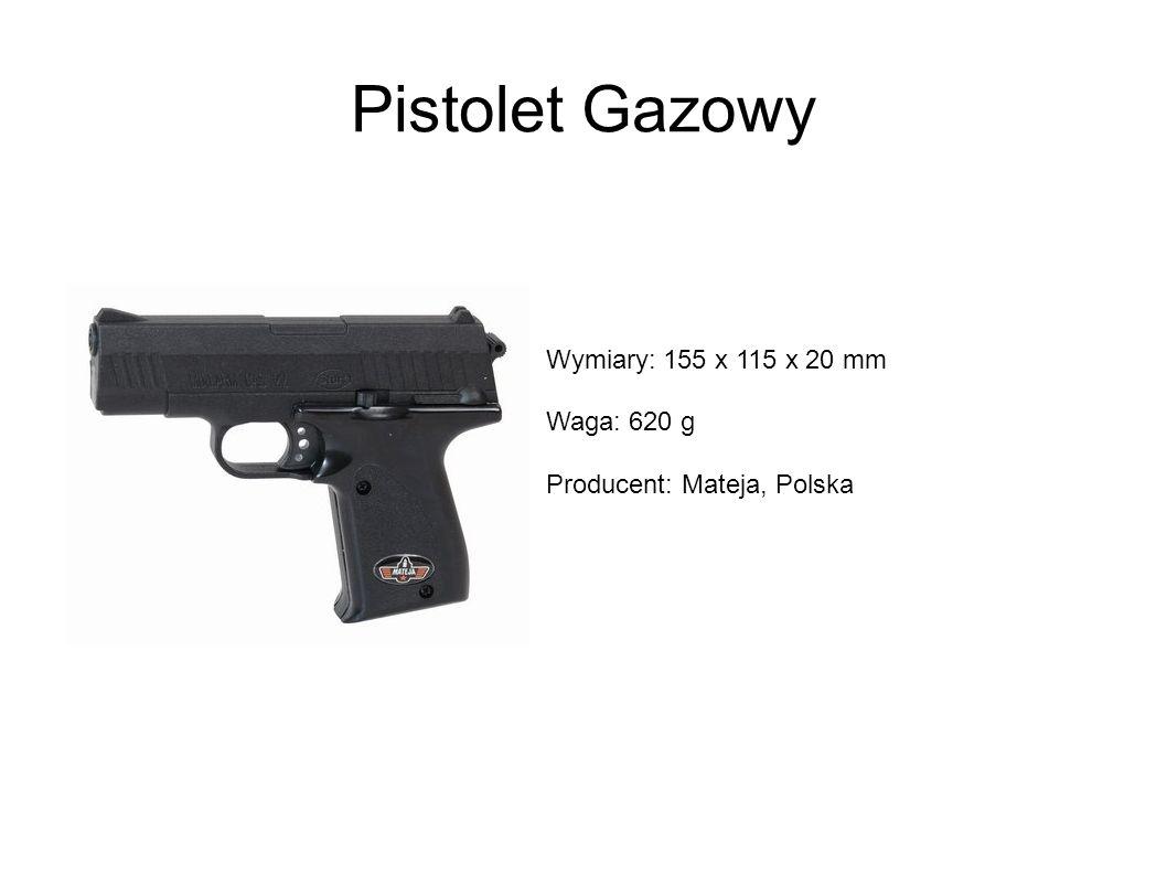 Pistolet Gazowy Wymiary: 155 x 115 x 20 mm Waga: 620 g Producent: Mateja, Polska