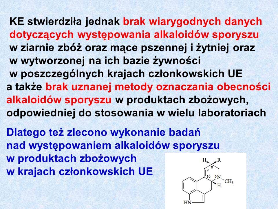KE stwierdziła jednak brak wiarygodnych danych dotyczących występowania alkaloidów sporyszu w ziarnie zbóż oraz mące pszennej i żytniej oraz w wytworzonej na ich bazie żywności w poszczególnych krajach członkowskich UE a także brak uznanej metody oznaczania obecności alkaloidów sporyszu w produktach zbożowych, odpowiedniej do stosowania w wielu laboratoriach Dlatego też zlecono wykonanie badań nad występowaniem alkaloidów sporyszu w produktach zbożowych w krajach członkowskich UE