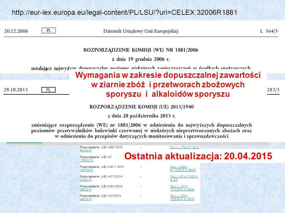 http://eur-lex.europa.eu/legal-content/PL/LSU/?uri=CELEX:32006R1881 Akt(-y) zmieniający(-e)Wejście w życieTermin transpozycji przez kraje UE Dziennik Urzędowy Unii Europejskiej Rozporządzenie (WE) nr 1126/20071126/2007 30.9.2007-Dz.U.