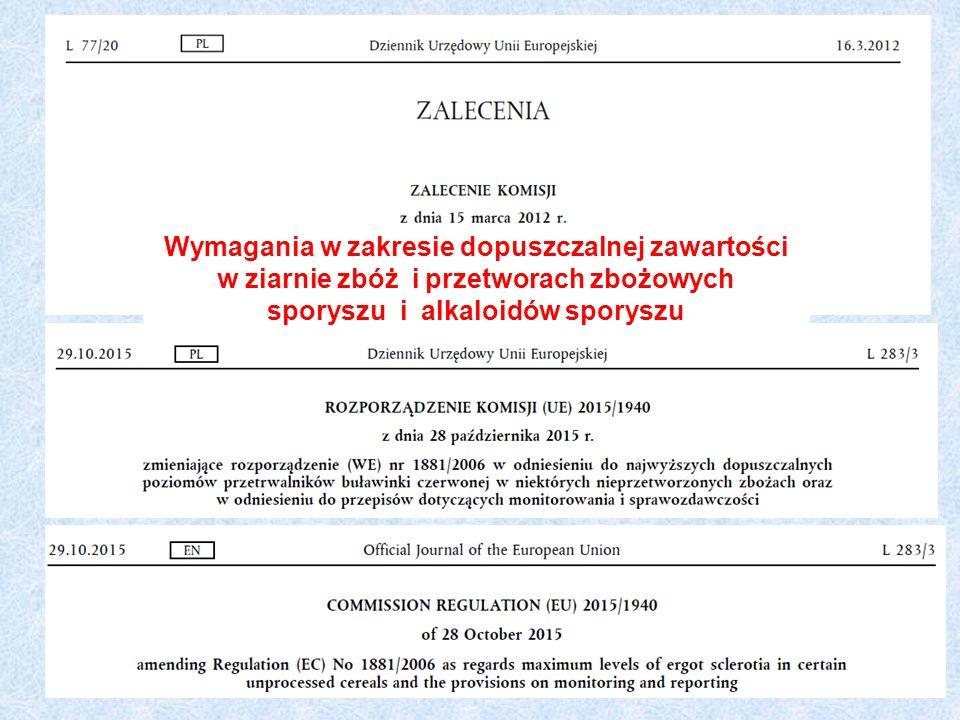 Wymagania w zakresie dopuszczalnej zawartości w ziarnie zbóż i przetworach zbożowych sporyszu i alkaloidów sporyszu