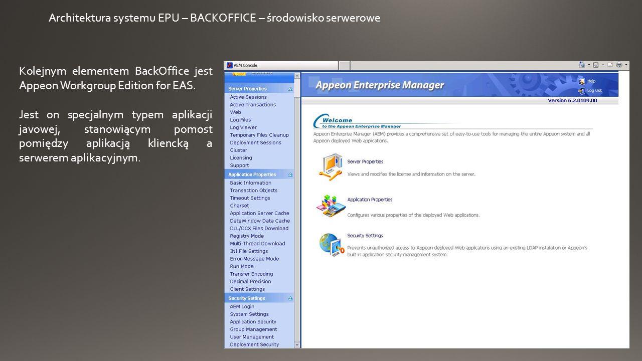 Architektura systemu EPU – BACKOFFICE – środowisko serwerowe Kolejnym elementem BackOffice jest Appeon Workgroup Edition for EAS.