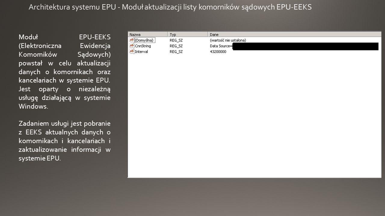 Moduł EPU-EEKS (Elektroniczna Ewidencja Komorników Sądowych) powstał w celu aktualizacji danych o komornikach oraz kancelariach w systemie EPU.