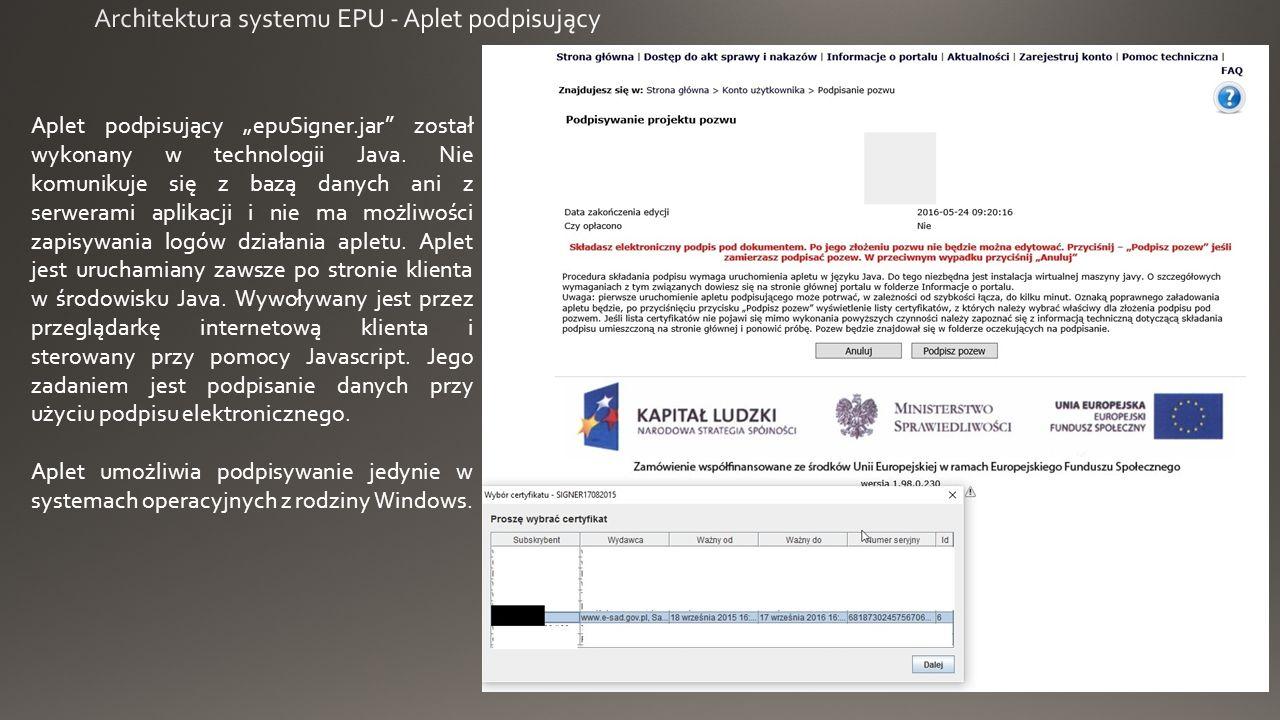 """Aplet podpisujący """"epuSigner.jar został wykonany w technologii Java."""