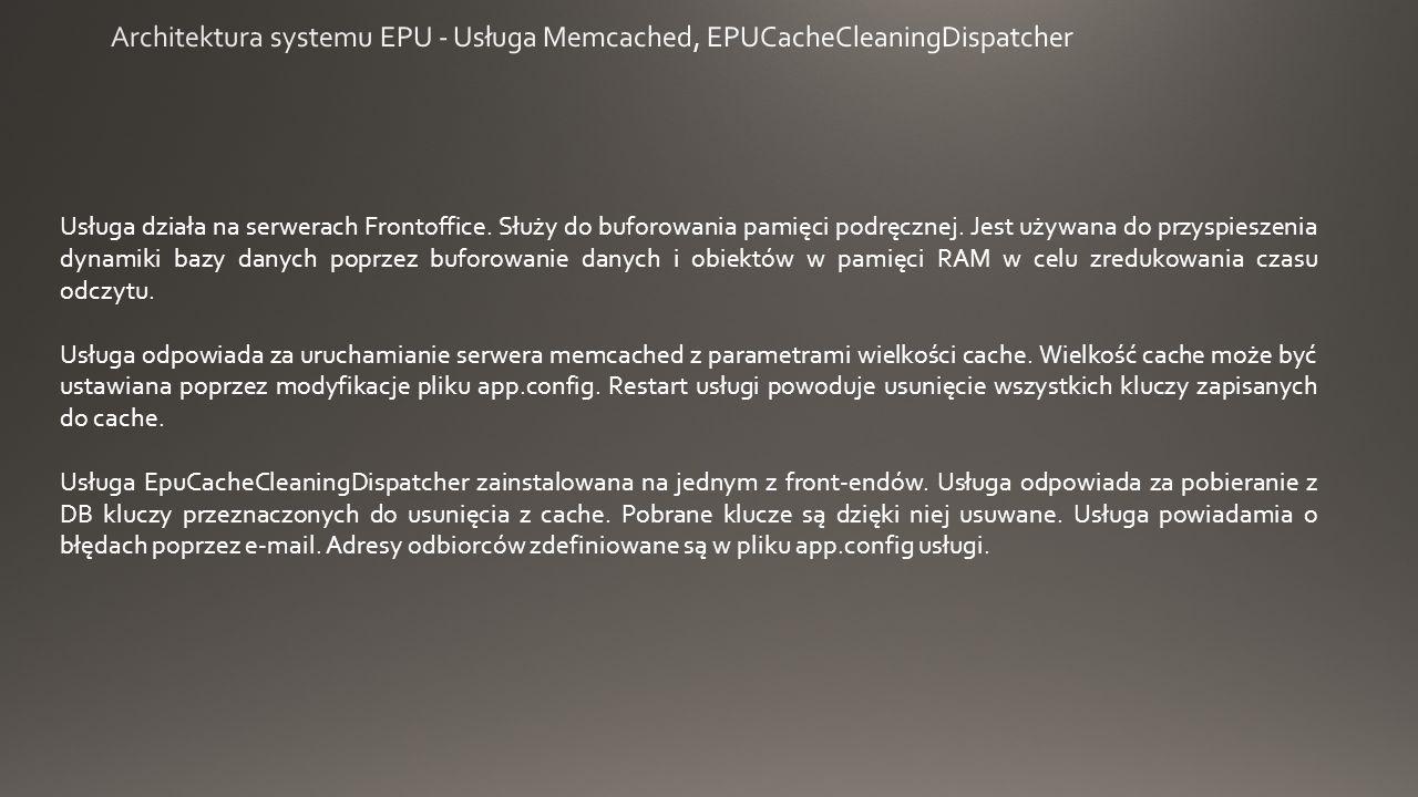 Usługa działa na serwerach Frontoffice. Służy do buforowania pamięci podręcznej.