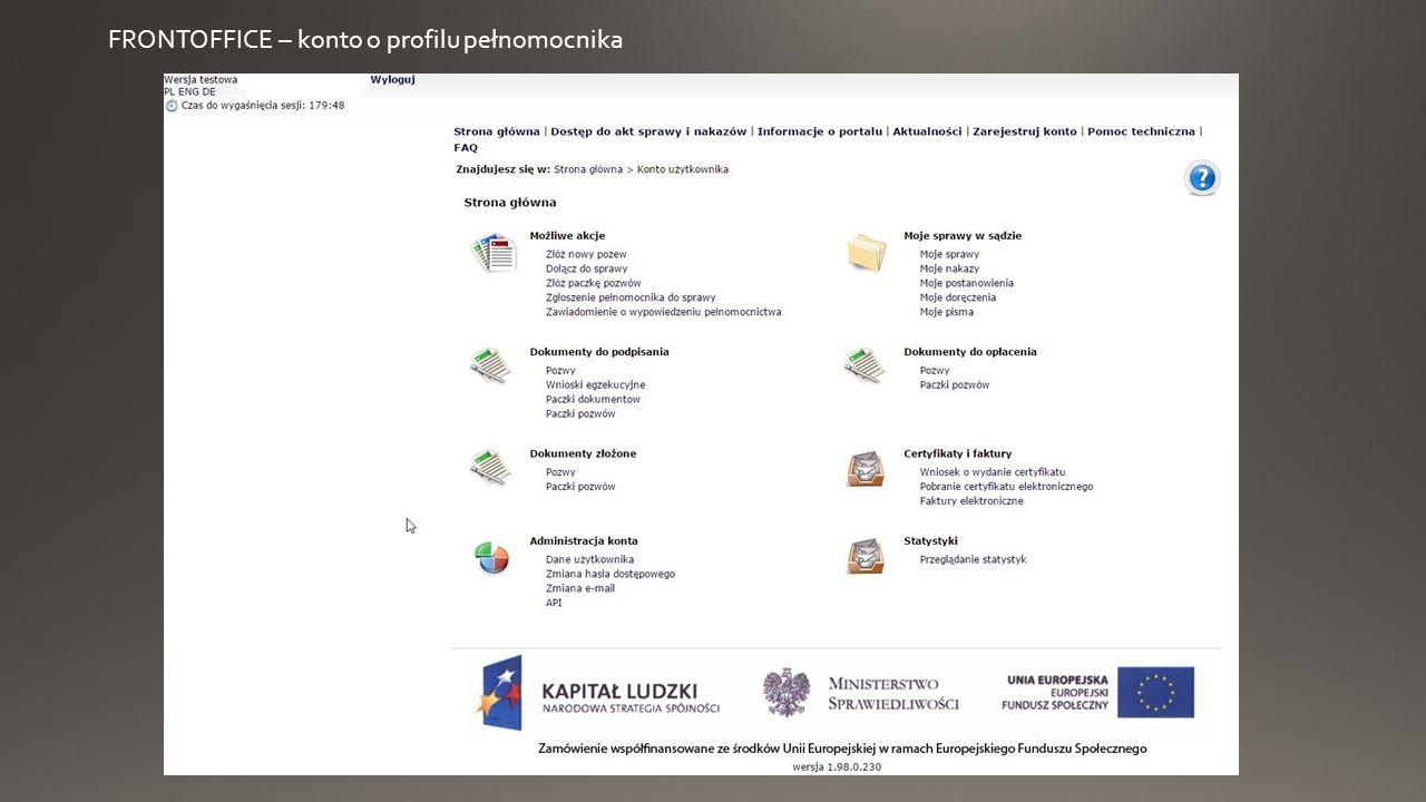 FRONTOFFICE – konto o profilu pełnomocnika