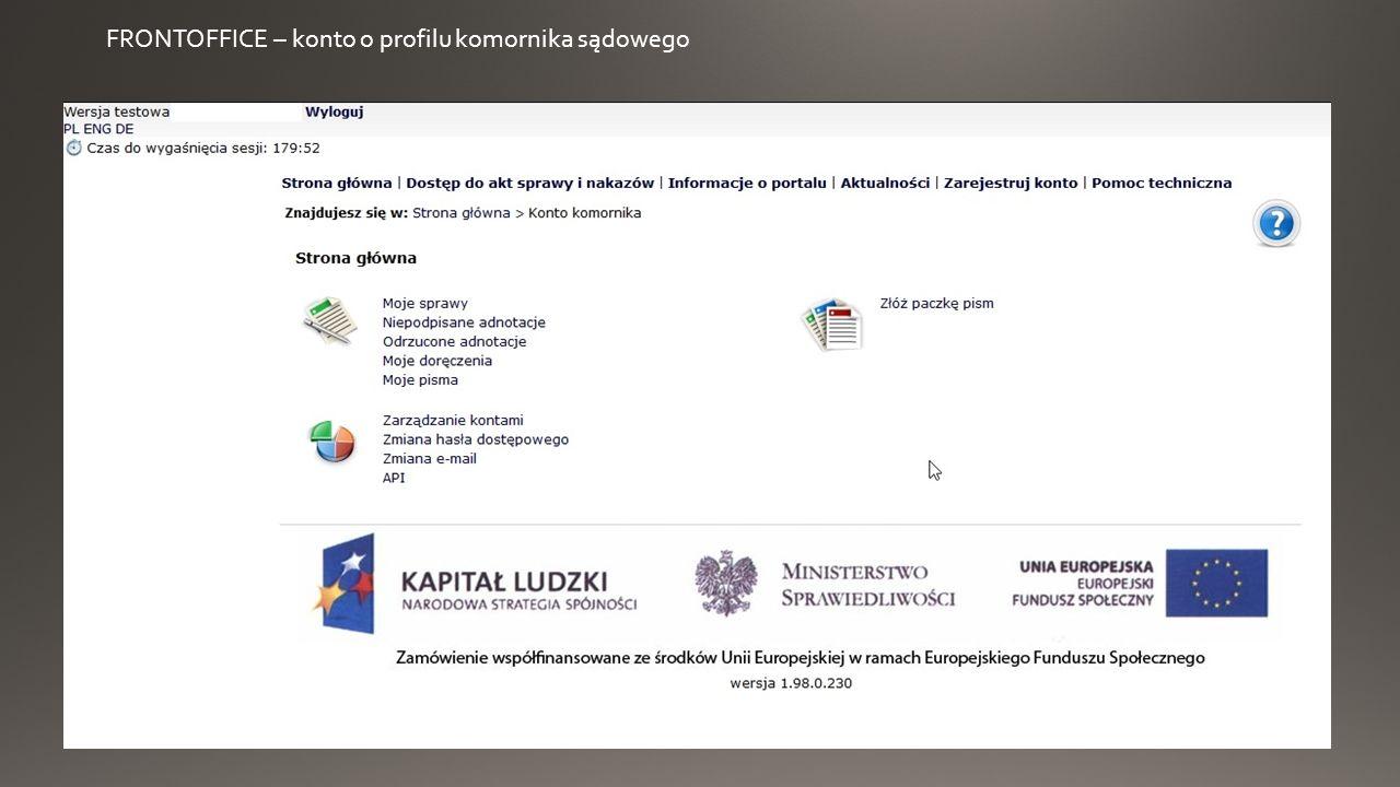 FRONTOFFICE – uruchamianie apletu podpisu i podpisanie pozwu