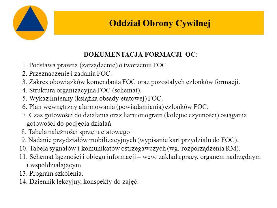 DOKUMENTACJA FORMACJI OC: 1. Podstawa prawna (zarządzenie) o tworzeniu FOC.