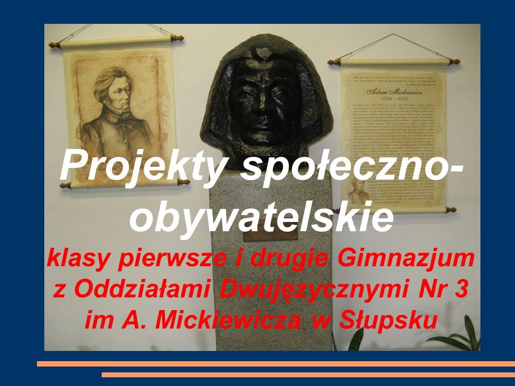 Projekty społeczno- obywatelskie klasy pierwsze i drugie Gimnazjum z Oddziałami Dwujęzycznymi Nr 3 im A.