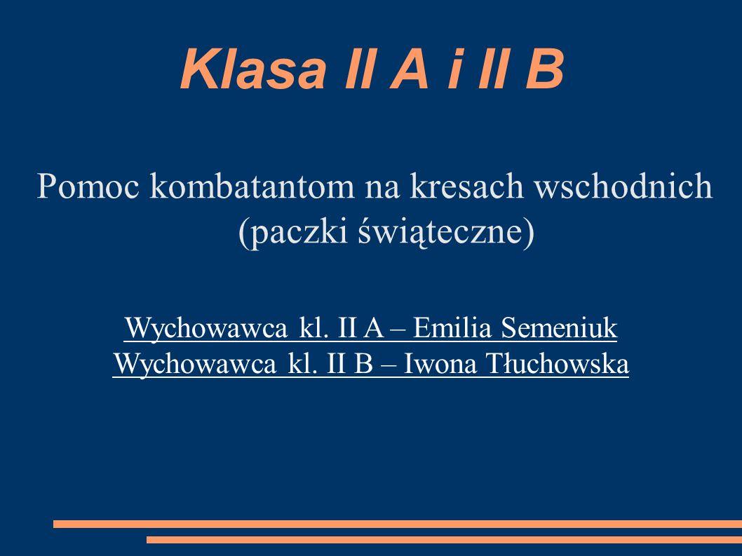 Klasa II A i II B Pomoc kombatantom na kresach wschodnich (paczki świąteczne) Wychowawca kl.