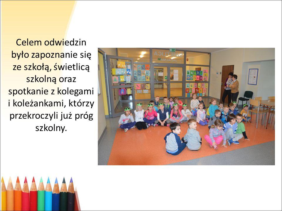 Celem odwiedzin było zapoznanie się ze szkołą, świetlicą szkolną oraz spotkanie z kolegami i koleżankami, którzy przekroczyli już próg szkolny.