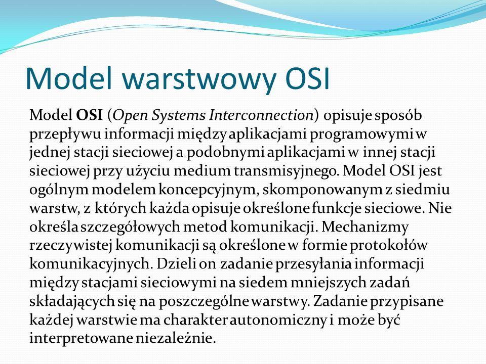 Model warstwowy OSI Model OSI (Open Systems Interconnection) opisuje sposób przepływu informacji między aplikacjami programowymi w jednej stacji sieciowej a podobnymi aplikacjami w innej stacji sieciowej przy użyciu medium transmisyjnego.