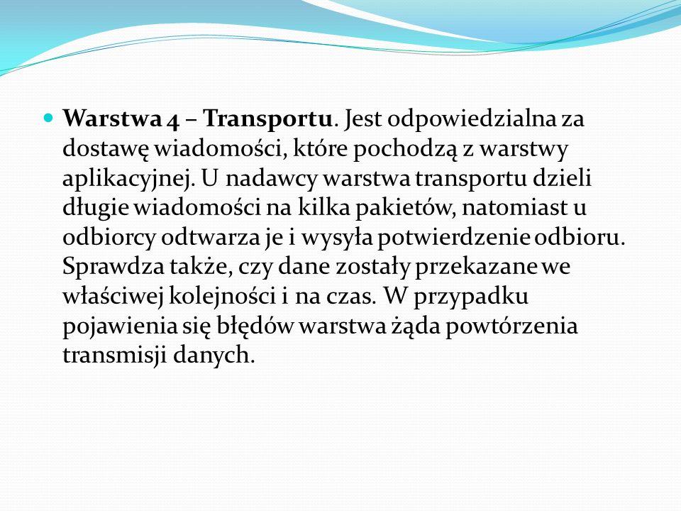 Warstwa 4 – Transportu. Jest odpowiedzialna za dostawę wiadomości, które pochodzą z warstwy aplikacyjnej. U nadawcy warstwa transportu dzieli długie w