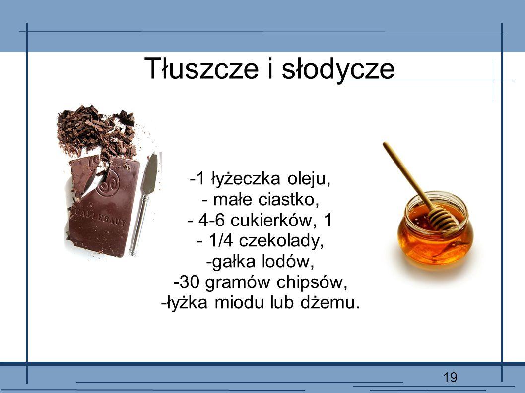 19 Tłuszcze i słodycze -1 łyżeczka oleju, - małe ciastko, - 4-6 cukierków, 1 - 1/4 czekolady, -gałka lodów, -30 gramów chipsów, -łyżka miodu lub dżemu