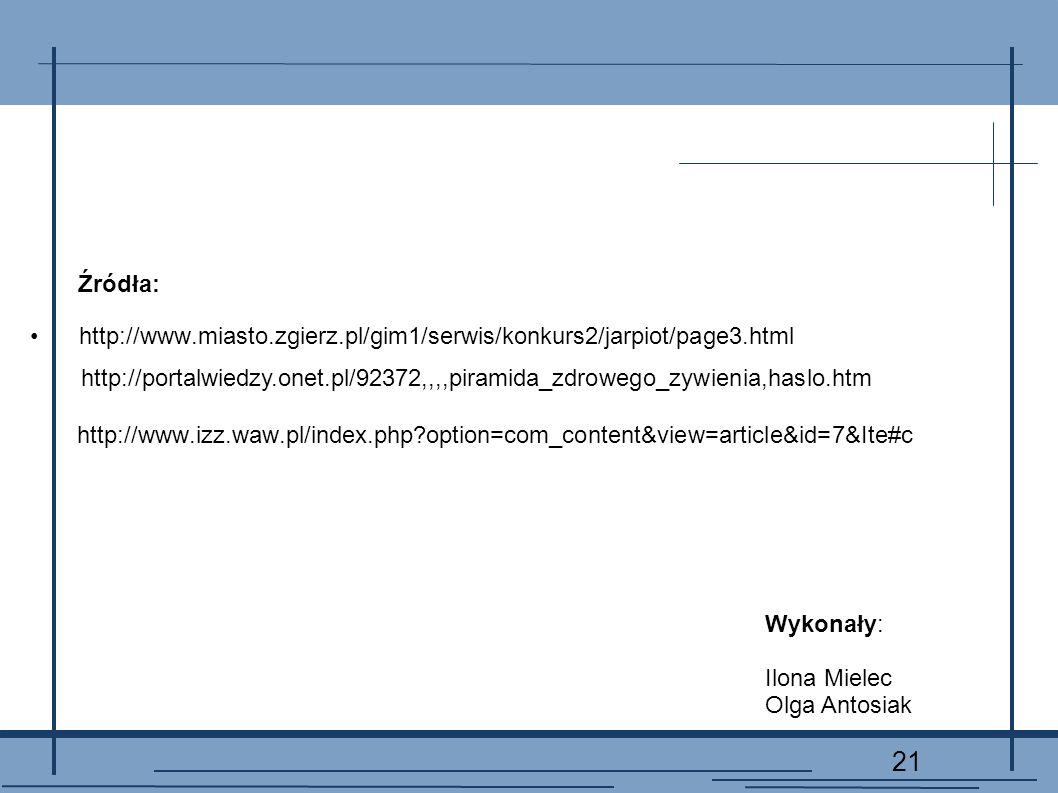 21 http://www.izz.waw.pl/index.php?option=com_content&view=article&id=7&Ite#c http://www.miasto.zgierz.pl/gim1/serwis/konkurs2/jarpiot/page3.html http