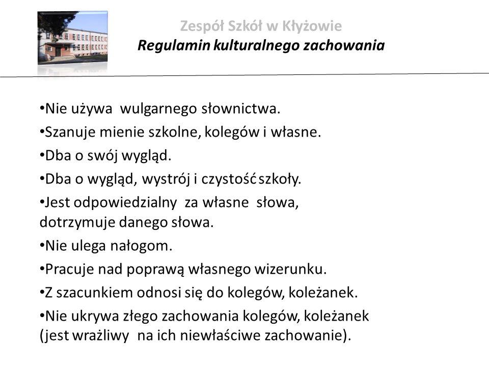 Zespół Szkół w Kłyżowie Regulamin kulturalnego zachowania Nie używa wulgarnego słownictwa.