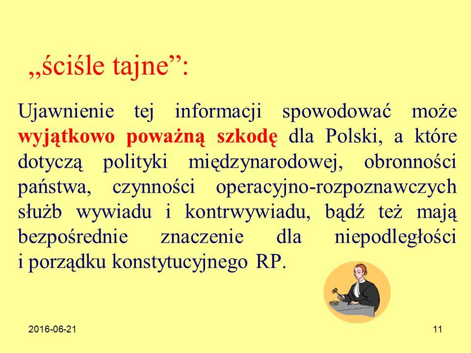 """2016-06-2111 """"ściśle tajne : Ujawnienie tej informacji spowodować może wyjątkowo poważną szkodę dla Polski, a które dotyczą polityki międzynarodowej, obronności państwa, czynności operacyjno-rozpoznawczych służb wywiadu i kontrwywiadu, bądź też mają bezpośrednie znaczenie dla niepodległości i porządku konstytucyjnego RP."""