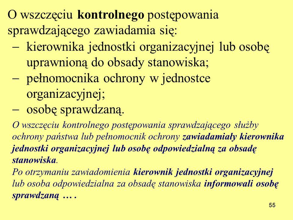 55  kierownika jednostki organizacyjnej lub osobę uprawnioną do obsady stanowiska;  pełnomocnika ochrony w jednostce organizacyjnej;  osobę sprawdzaną.