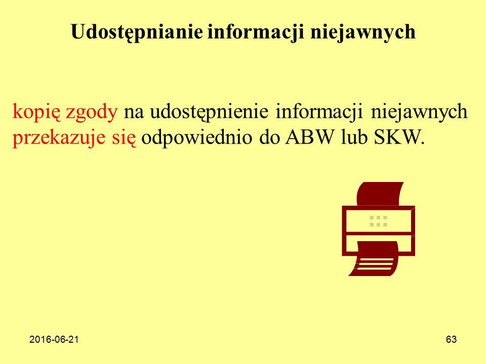2016-06-2163 kopię zgody na udostępnienie informacji niejawnych przekazuje się odpowiednio do ABW lub SKW.
