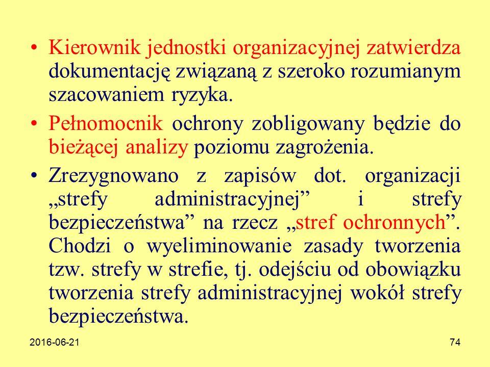 2016-06-2174 Kierownik jednostki organizacyjnej zatwierdza dokumentację związaną z szeroko rozumianym szacowaniem ryzyka.