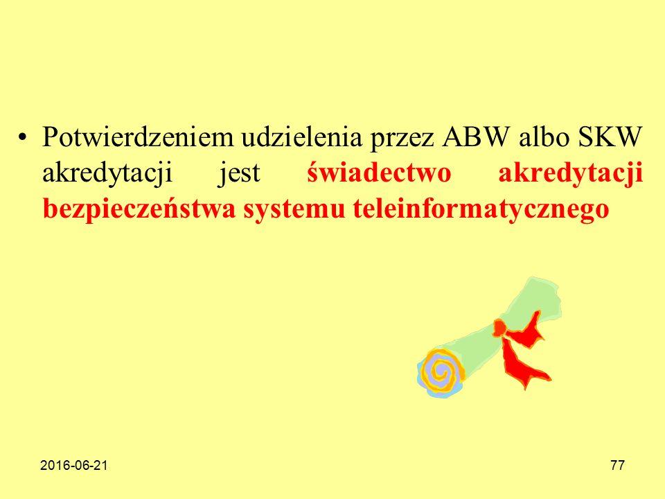 2016-06-2177 Potwierdzeniem udzielenia przez ABW albo SKW akredytacji jest świadectwo akredytacji bezpieczeństwa systemu teleinformatycznego