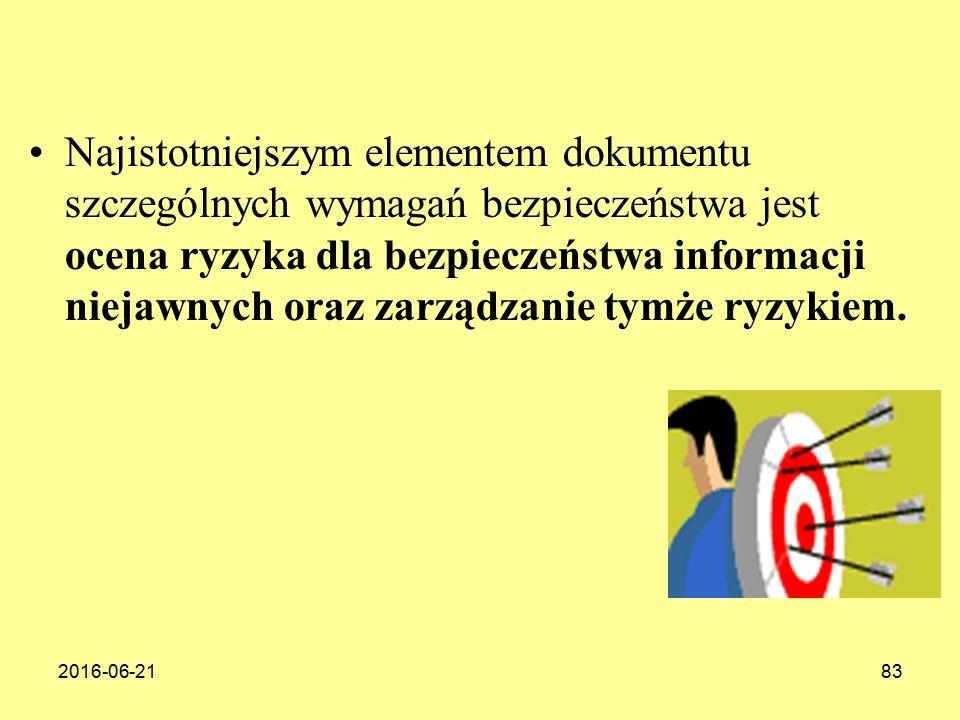 2016-06-2183 Najistotniejszym elementem dokumentu szczególnych wymagań bezpieczeństwa jest ocena ryzyka dla bezpieczeństwa informacji niejawnych oraz zarządzanie tymże ryzykiem.