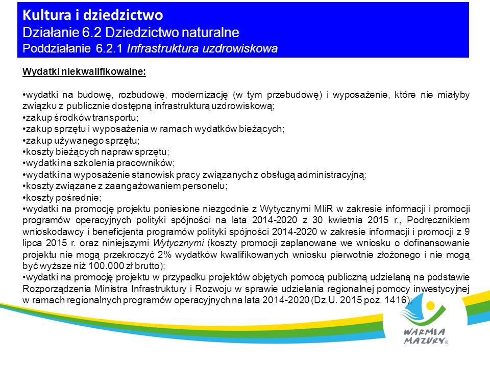 Kultura i dziedzictwo Działanie 6.2 Dziedzictwo naturalne Poddziałanie 6.2.1 Infrastruktura uzdrowiskowa Wydatki niekwalifikowalne cd.: koszty prac przygotowawczych np.