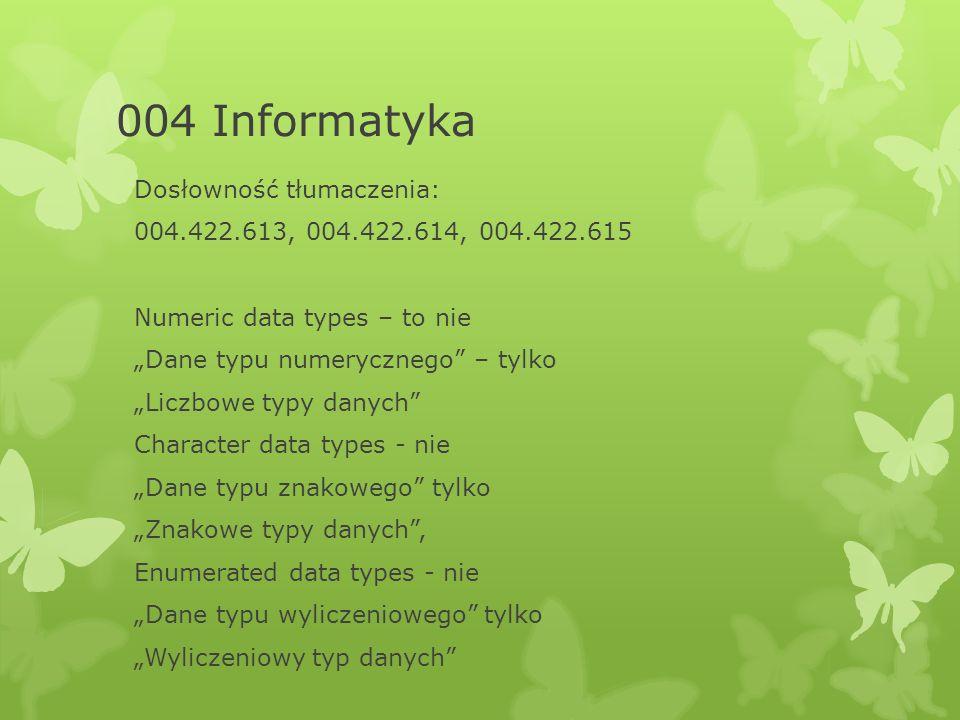 """004 Informatyka Dosłowność tłumaczenia: 004.422.613, 004.422.614, 004.422.615 Numeric data types – to nie """"Dane typu numerycznego – tylko """"Liczbowe typy danych Character data types - nie """"Dane typu znakowego tylko """"Znakowe typy danych , Enumerated data types - nie """"Dane typu wyliczeniowego tylko """"Wyliczeniowy typ danych"""