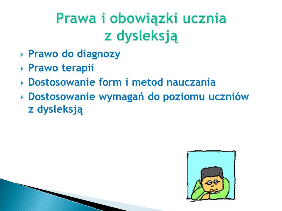  Prawo do diagnozy  Prawo terapii  Dostosowanie form i metod nauczania  Dostosowanie wymagań do poziomu uczniów z dysleksją