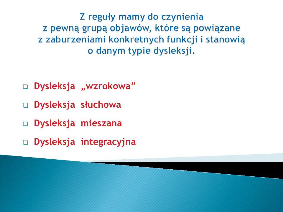 """ Dysleksja """"wzrokowa  Dysleksja słuchowa  Dysleksja mieszana  Dysleksja integracyjna"""