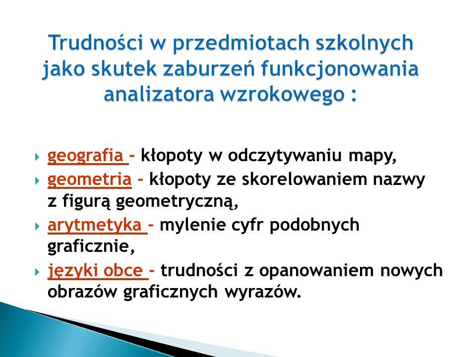  języki obce - trudności tego samego typu co w języku polskim; słownictwo ubogie, zniekształcanie wyrazów mało znanych, przy czytaniu długo utrzymuje się technika literowania, występują kłopoty z syntezą dźwięków, w czytaniu nie uwzględniane są znaki przestankowe, błędy w czytaniu: mylenie wyrazów o podobnym brzmieniu, zniekształcanie słów, błędy typu fonetycznego - fonetyczna deformacja słów, szczególne trudności w pisaniu ze słuchu wynikające z kłopotów z dokonaniem prawidłowej analizy dźwiękowej dyktowanych wyrazów, trudności z wyodrębnianiem wyrazów ze zdań, z zapisaniem wyrazów nieznanych, zmiana kolejności wyrazów w zdaniu.
