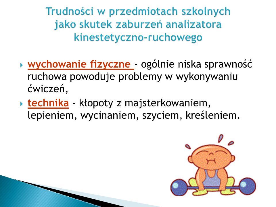 wychowanie fizyczne - ogólnie niska sprawność ruchowa powoduje problemy w wykonywaniu ćwiczeń,  technika - kłopoty z majsterkowaniem, lepieniem, wycinaniem, szyciem, kreśleniem.