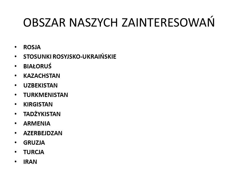 OBSZAR NASZYCH ZAINTERESOWAŃ ROSJA STOSUNKI ROSYJSKO-UKRAIŃSKIE BIAŁORUŚ KAZACHSTAN UZBEKISTAN TURKMENISTAN KIRGISTAN TADŻYKISTAN ARMENIA AZERBEJDZAN GRUZJA TURCJA IRAN
