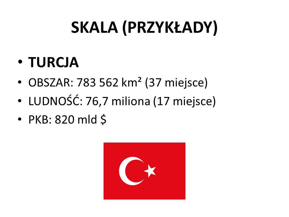 SKALA (PRZYKŁADY) TURCJA OBSZAR: 783 562 km² (37 miejsce) LUDNOŚĆ: 76,7 miliona (17 miejsce) PKB: 820 mld $