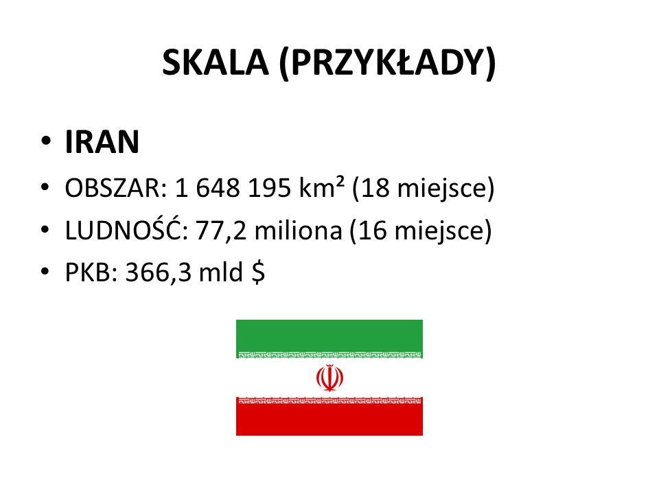 SKALA (PRZYKŁADY) IRAN OBSZAR: 1 648 195 km² (18 miejsce) LUDNOŚĆ: 77,2 miliona (16 miejsce) PKB: 366,3 mld $