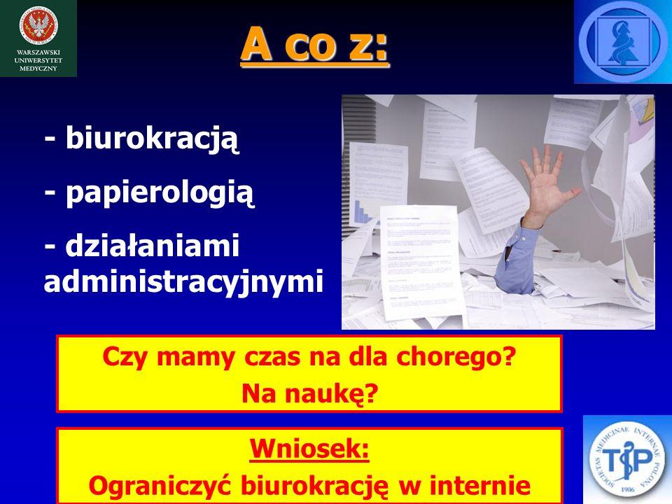 A co z: - biurokracją - papierologią - działaniami administracyjnymi Czy mamy czas na dla chorego.