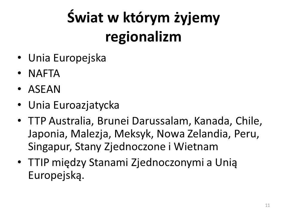 Świat w którym żyjemy regionalizm Unia Europejska NAFTA ASEAN Unia Euroazjatycka TTP Australia, Brunei Darussalam, Kanada, Chile, Japonia, Malezja, Meksyk, Nowa Zelandia, Peru, Singapur, Stany Zjednoczone i Wietnam TTIP między Stanami Zjednoczonymi a Unią Europejską.