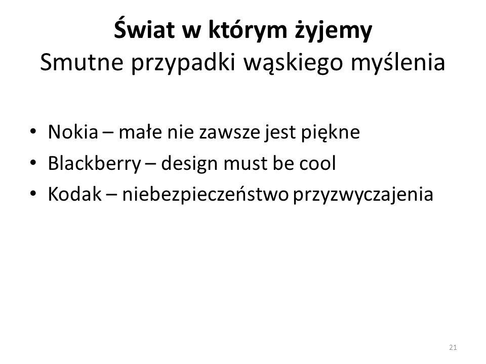 Świat w którym żyjemy Smutne przypadki wąskiego myślenia Nokia – małe nie zawsze jest piękne Blackberry – design must be cool Kodak – niebezpieczeństwo przyzwyczajenia 21